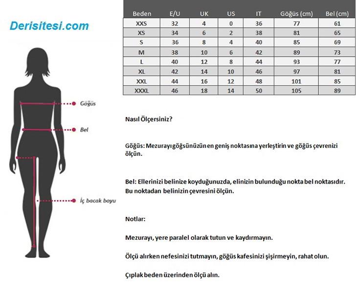 deri yelek beden ölçüsü